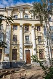 Yekaterinburg, Sverdlovsk / Russia - 09 04 2018: The beautiful yellow historic Artist`s house with white columns stock images