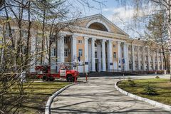 Yekaterinburg, Sverdlovsk / Russia - 05 05 2019: The old russian fire engine and the Ural Institute of the State Fire Service of royalty free stock photo