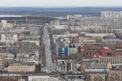 Yekaterinsburg Panoramablick der Malyshev-Straße Kirovsky-Bezirk Russland lizenzfreies stockfoto