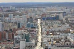 Yekaterinsburg Panoramablick der Malyshev-Straße Zentraler Bezirk Russland stockbilder