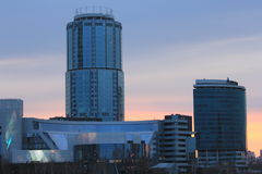 Yekaterinsburg Russland Sonnenuntergang auf dem Stadtteich Yeltsin-Mitte stockfotos