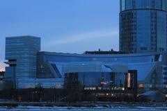 Yekaterinsburg Russland Sonnenuntergang auf dem Stadtteich Yeltsin-Mitte lizenzfreie stockfotos