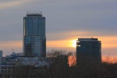 Yekaterinsburg Russland Sonnenuntergang Zentraler Bezirk von Yekaterinsburg-Stadt lizenzfreies stockbild