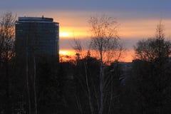 Yekaterinsburg Russland Sonnenuntergang Zentraler Bezirk von Yekaterinsburg-Stadt lizenzfreie stockbilder