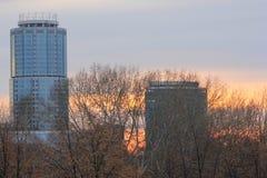 Yekaterinsburg Russland Sonnenuntergang Zentraler Bezirk von Yekaterinsburg-Stadt lizenzfreies stockfoto