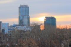 Yekaterinsburg Ryssland Solnedgång Centralt område av den Yekaterinsburg staden Royaltyfri Fotografi