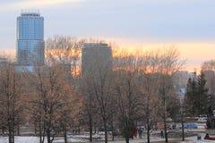 Yekaterinsburg Ryssland Solnedgång Centralt område av den Yekaterinsburg staden Arkivbilder