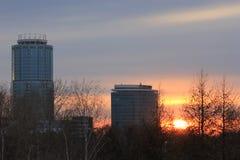Yekaterinsburg Ryssland Solnedgång Centralt område av den Yekaterinsburg staden Arkivfoto