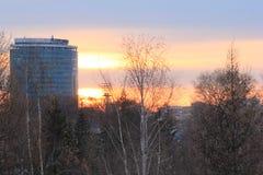 Yekaterinsburg Ryssland Solnedgång Centralt område av den Yekaterinsburg staden Arkivbild