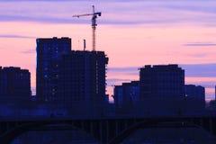 Yekaterinsburg Ryssland Solnedgång på stadsdammet Fotografering för Bildbyråer