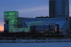 Yekaterinsburg Ryssland Solnedgång på stadsdammet Jeltsin mitt Royaltyfri Fotografi