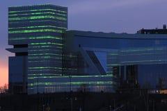 Yekaterinsburg Ryssland Solnedgång på stadsdammet Jeltsin mitt Arkivfoto
