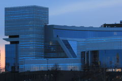 Yekaterinsburg Ryssland Solnedgång på stadsdammet Jeltsin mitt Fotografering för Bildbyråer