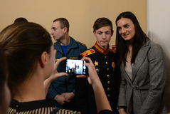 Yelena Isinbayeva - two-time Olympic champion, photographed with students at the ceremony of awarding the winners of the `warm hea Royalty Free Stock Photography