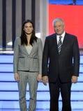 Yelena Isinbayeva - zweifacher olympischer Meister und der Minister von den inneren Angelegenheiten Vladimir Kolokoltsev an der Z Lizenzfreie Stockfotos