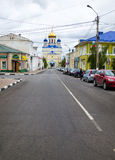 Yelets City. Street Kommunarov and Voznesensky cathedral. Royalty Free Stock Images