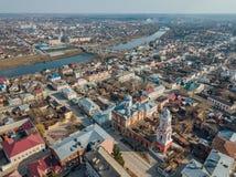 Yelets, Lipetsk region, dziejowy śródmieście, widok z lotu ptaka od trutnia fotografia stock