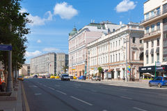 Yeliseyevsky store, Logunov apartment house and Izvestia newspaper building on August 7, 2017 in Moscow. MOSCOW - AUGUST 7: Yeliseyevsky store, Logunov apartment stock photography