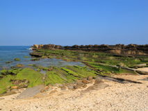 Yeliu Geopark. Yehliu is a cape in the town of Wanli, New Taipei, Taiwan.  The rock landscape of Yehliu Geopark is one of most famous wonders in the world. The Royalty Free Stock Images