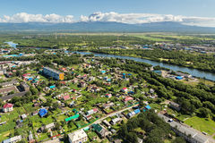 Yelizovo town on Kamchatka Peninsula. Royalty Free Stock Photo