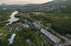 Yelizovo town on Kamchatka Peninsula. Royalty Free Stock Images