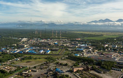 Yelizovo town on Kamchatka Peninsula. View from the helicopter royalty free stock photo