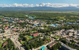 Yelizovo town on Kamchatka Peninsula. View from helicopter royalty free stock photos