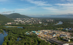 Yelizovo town on Kamchatka Peninsula. View from the helicopter stock photography