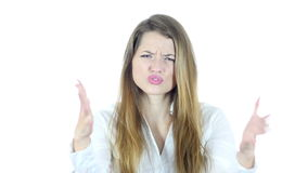 Yelling, Angry Young Woman  arguing ,, White Background,Young,,,, stock footage