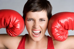 Yelling Boxer. Angry mad yelling boxer woman Royalty Free Stock Photography