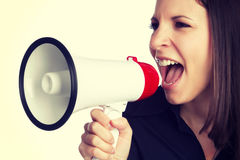 Yelling Bullhorn Woman Royalty Free Stock Photos