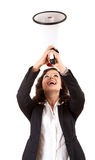 Yelling businesswoman with megaphone Stock Images