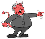 Yelling cartoon devil boss. Vector illustration of a yelling cartoon devil boss Stock Photos