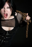 Yelling Chains Girl Stock Images