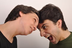 Yelling face to face Royalty Free Stock Photography