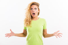 Yelling girl Stock Images