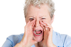 Yelling granny Stock Photo