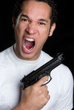 Yelling Gun Man Stock Photo