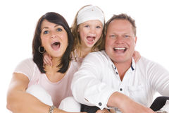 Yelling happy family Stock Photos