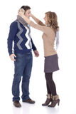 Yelling at her boyfriend. Girl yelling at her boyfriend royalty free stock photography