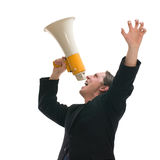 Yelling through megaphone Royalty Free Stock Photography