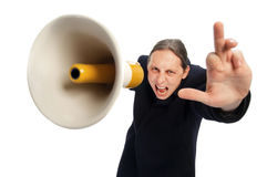 Yelling through megaphone Stock Photo