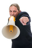 Yelling through megaphone Royalty Free Stock Images