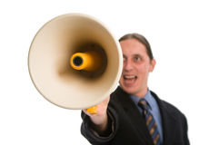 Yelling through megaphone Stock Photography