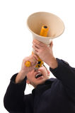 Yelling through megaphone Stock Photos