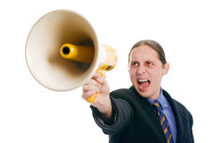 Yelling through megaphone Stock Images