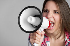 Yelling Megaphone Woman Royalty Free Stock Photos
