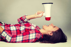 Yelling Megaphone Woman Stock Photo
