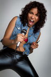 Yelling Microphone Girl Royalty Free Stock Photo