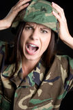 Yelling Military Woman Royalty Free Stock Photo